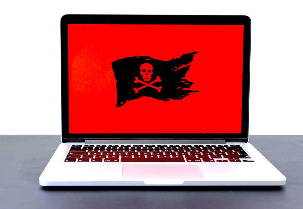Picture of laptop with pirate flag