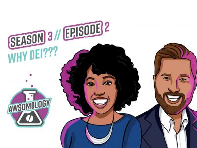 Awsomology Podcast art featuring Dohnia and Josh