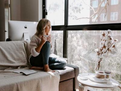 Picture of woman alone on couch